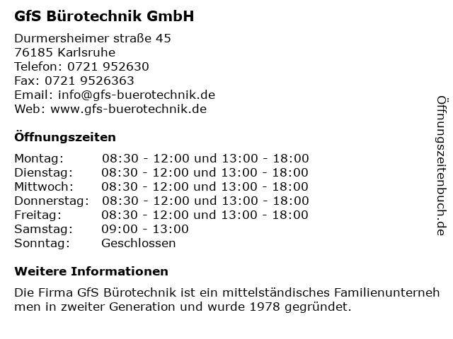 ᐅ öffnungszeiten Gfs Bürotechnik Gmbh Durmersheimer Straße 45
