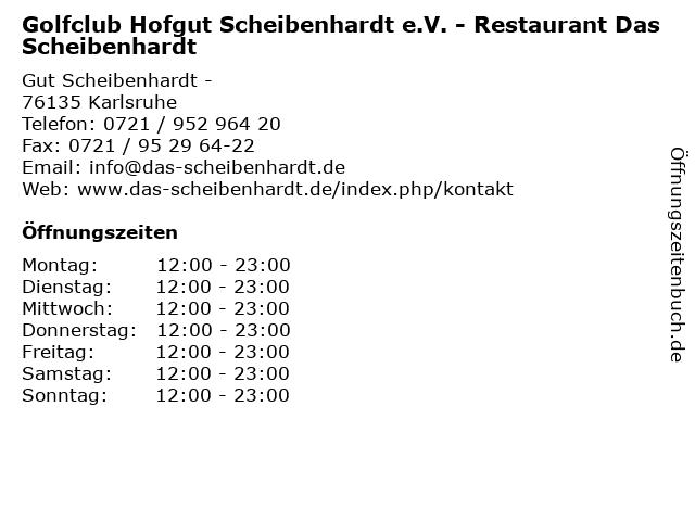 Golfclub Hofgut Scheibenhardt e.V. - Restaurant Das Scheibenhardt in Karlsruhe: Adresse und Öffnungszeiten