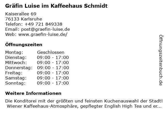 Kaffeehaus Schmidt in Karlsruhe: Adresse und Öffnungszeiten