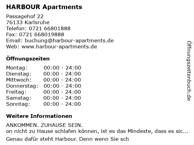 HARBOUR Apartments in Karlsruhe: Adresse und Öffnungszeiten