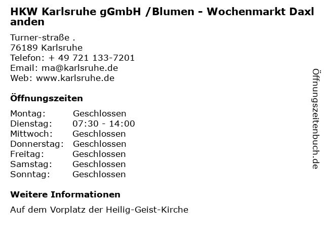 HKW Karlsruhe gGmbH /Blumen - Wochenmarkt Daxlanden in Karlsruhe: Adresse und Öffnungszeiten