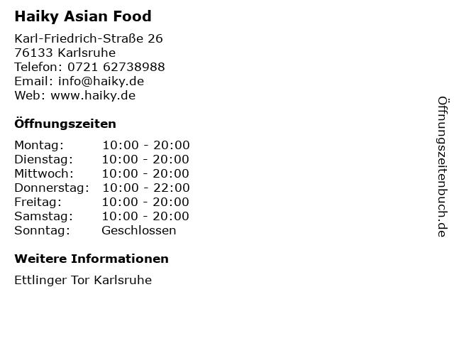 Haiky Asian Food in Karlsruhe: Adresse und Öffnungszeiten