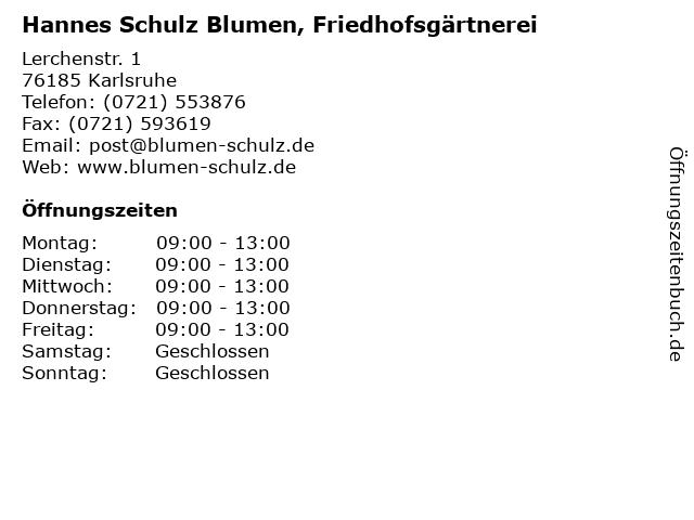 Hannes Schulz Blumen, Friedhofsgärtnerei in Karlsruhe: Adresse und Öffnungszeiten