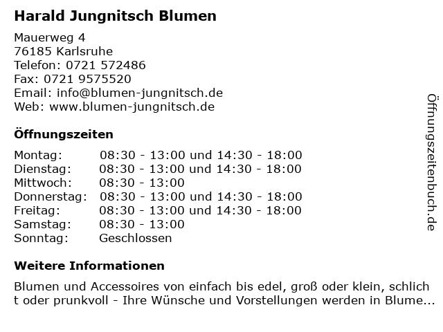 Harald Jungnitsch Blumen in Karlsruhe: Adresse und Öffnungszeiten