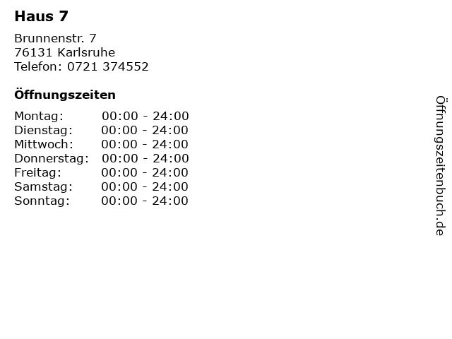Haus 7 in Karlsruhe: Adresse und Öffnungszeiten