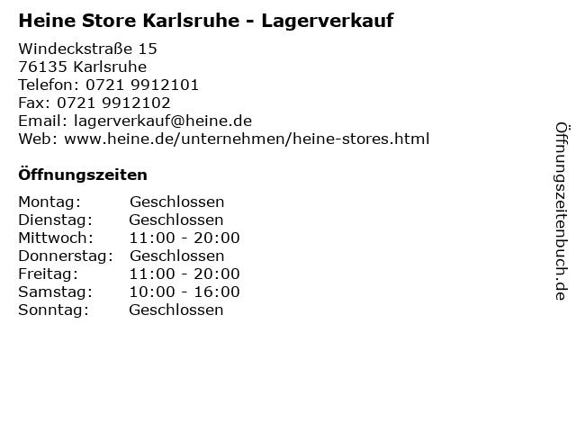 ᐅ öffnungszeiten Heine Store Karlsruhe Lagerverkauf