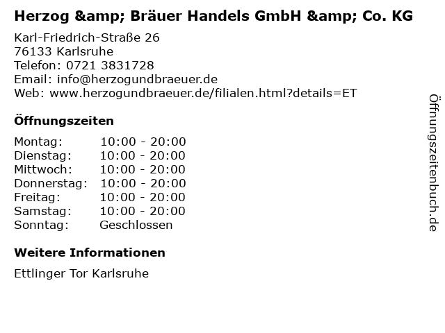 Herzog & Bräuer Handels GmbH & Co. KG in Karlsruhe: Adresse und Öffnungszeiten