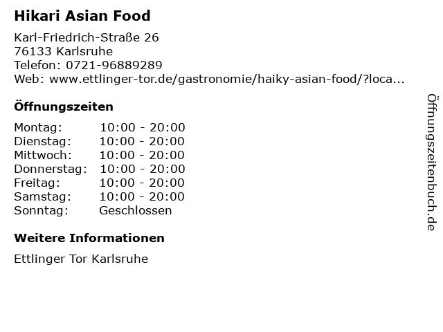 Hikari Asian Food in Karlsruhe: Adresse und Öffnungszeiten
