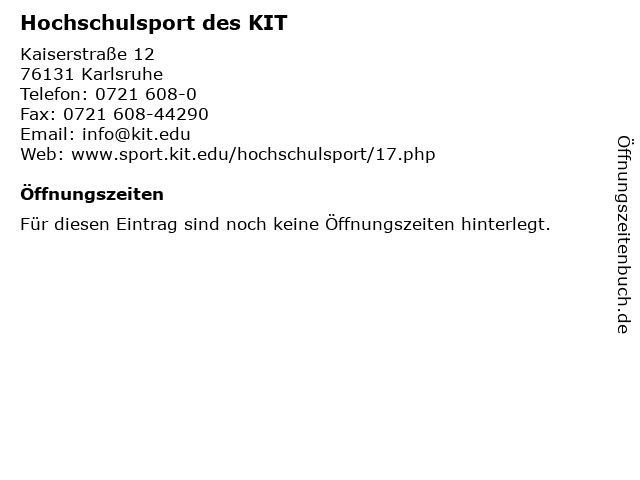 Hochschulsport des KIT in Karlsruhe: Adresse und Öffnungszeiten