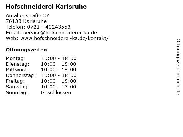 Hofschneiderei Karlsruhe in Karlsruhe: Adresse und Öffnungszeiten