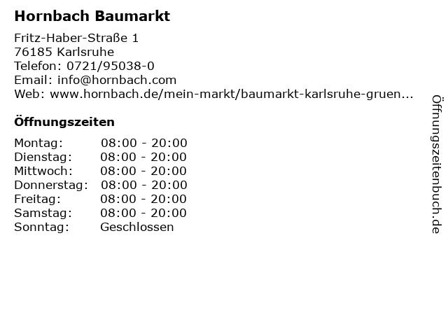 Hornbach Baumarkt in Karlsruhe: Adresse und Öffnungszeiten