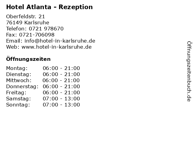 Hotel Atlanta - Rezeption in Karlsruhe: Adresse und Öffnungszeiten