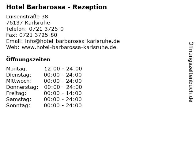 Hotel Barbarossa - Rezeption in Karlsruhe: Adresse und Öffnungszeiten