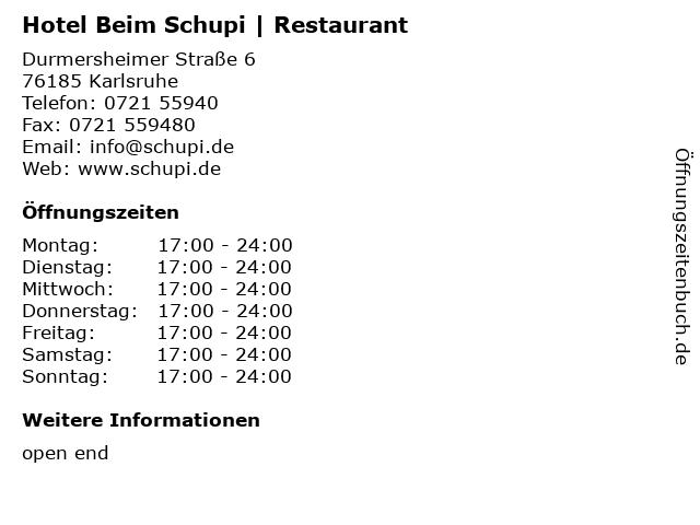 Hotel Beim Schupi   Restaurant in Karlsruhe: Adresse und Öffnungszeiten