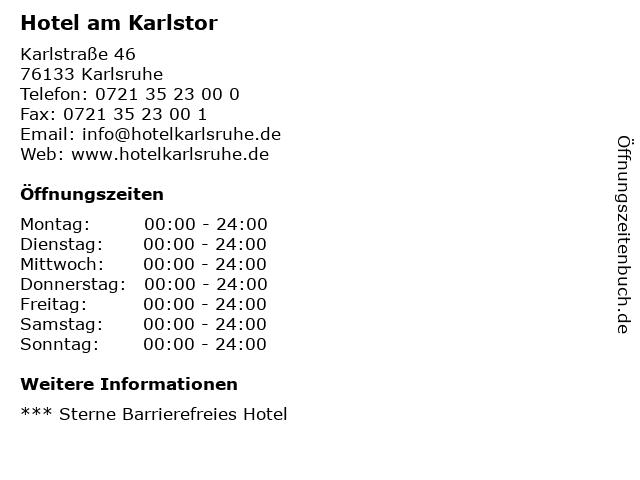 Hotel am Karlstor in Karlsruhe: Adresse und Öffnungszeiten