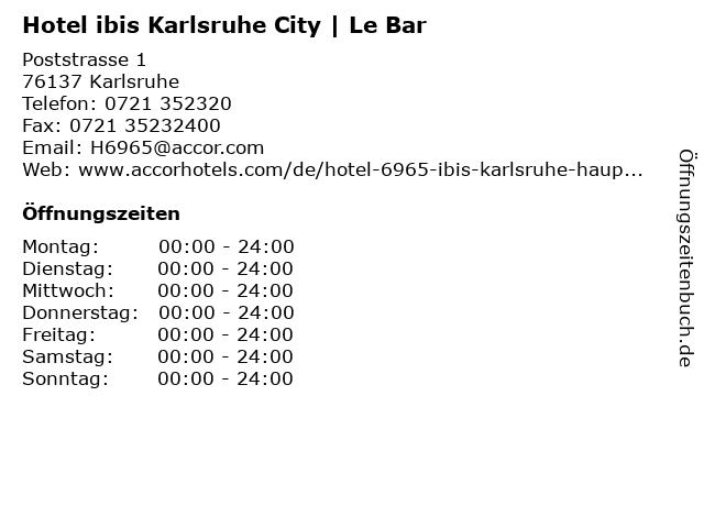 Hotel ibis Karlsruhe City   Le Bar in Karlsruhe: Adresse und Öffnungszeiten