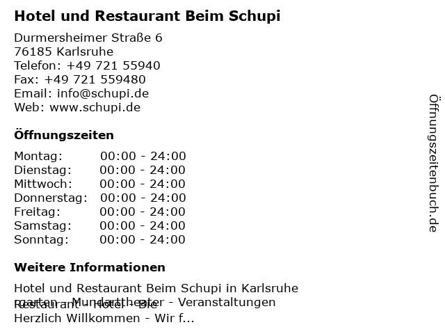 Hotel und Restaurant Beim Schupi in Karlsruhe: Adresse und Öffnungszeiten