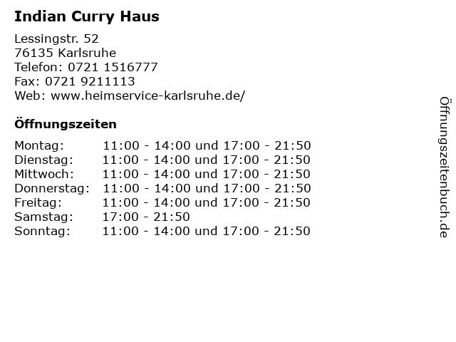 Indian Curry Haus in Karlsruhe: Adresse und Öffnungszeiten