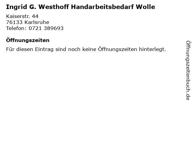 Ingrid G. Westhoff Handarbeitsbedarf Wolle in Karlsruhe: Adresse und Öffnungszeiten