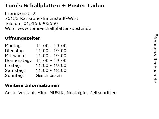 Tom's Schallplatten + Poster Laden in Karlsruhe-Innenstadt-West: Adresse und Öffnungszeiten