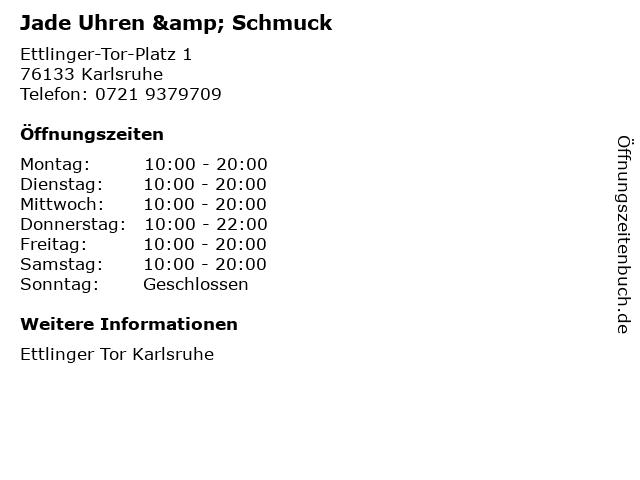 Jade Uhren & Schmuck in Karlsruhe: Adresse und Öffnungszeiten