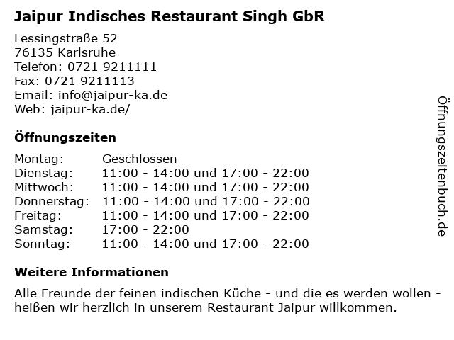 Jaipur Restaurant - Lieferzeiten in Karlsruhe: Adresse und Öffnungszeiten