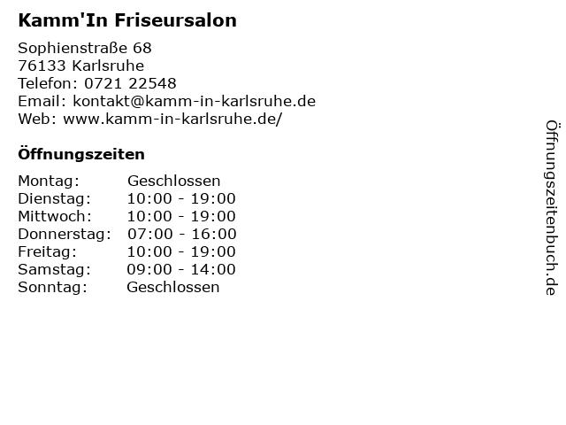Kamm'In Friseursalon in Karlsruhe: Adresse und Öffnungszeiten