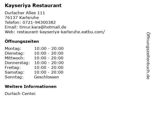 Kayseriya Restaurant in Karlsruhe: Adresse und Öffnungszeiten