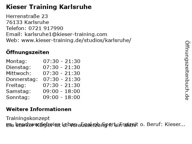 Kieser Training Karlsruhe in Karlsruhe: Adresse und Öffnungszeiten