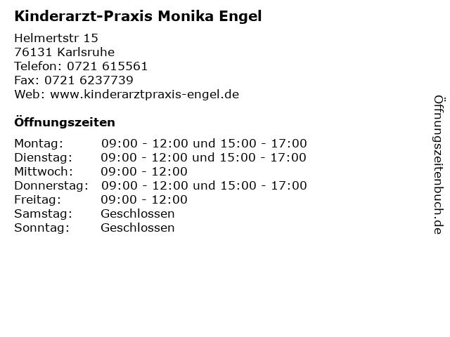 Kinderarzt-Praxis Monika Engel in Karlsruhe: Adresse und Öffnungszeiten