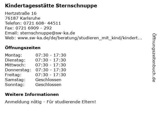 ᐅ Offnungszeiten Kindertagesstatte Sternschnuppe Hertzstrasse 16