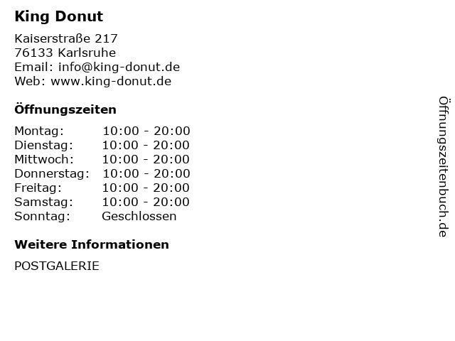 King Donut in Karlsruhe: Adresse und Öffnungszeiten
