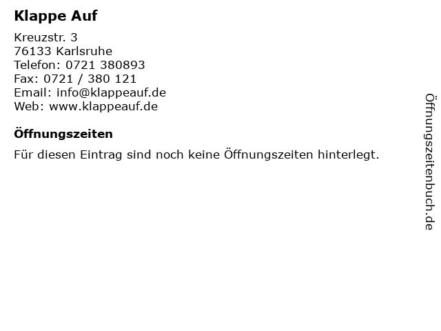 Klappe Auf in Karlsruhe: Adresse und Öffnungszeiten