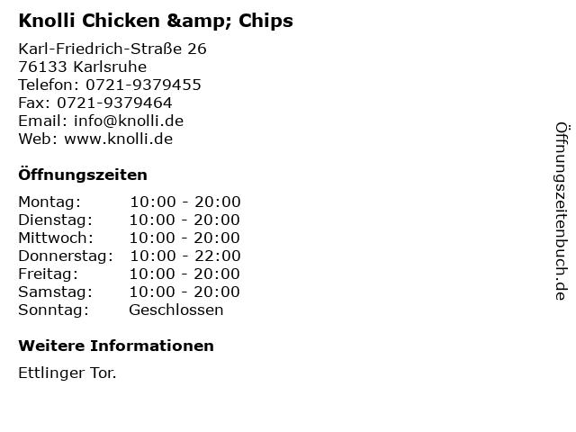 Knolli Chicken & Chips in Karlsruhe: Adresse und Öffnungszeiten