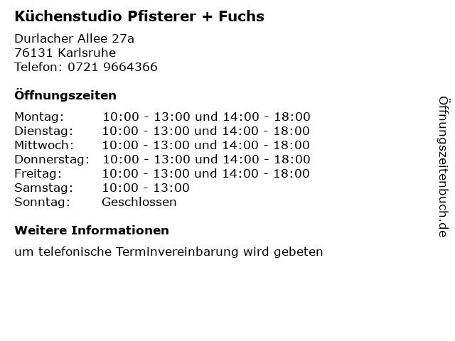 ᐅ Offnungszeiten Kuchenstudio Pfisterer Fuchs Durlacher Allee