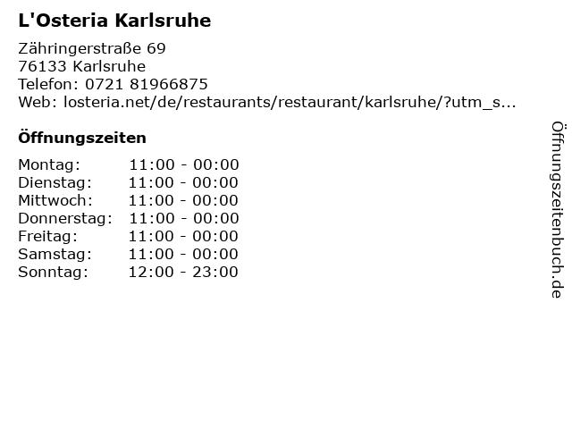 L'Osteria Karlsruhe in Karlsruhe: Adresse und Öffnungszeiten