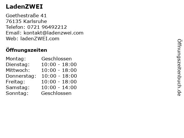 LadenZWEI in Karlsruhe: Adresse und Öffnungszeiten