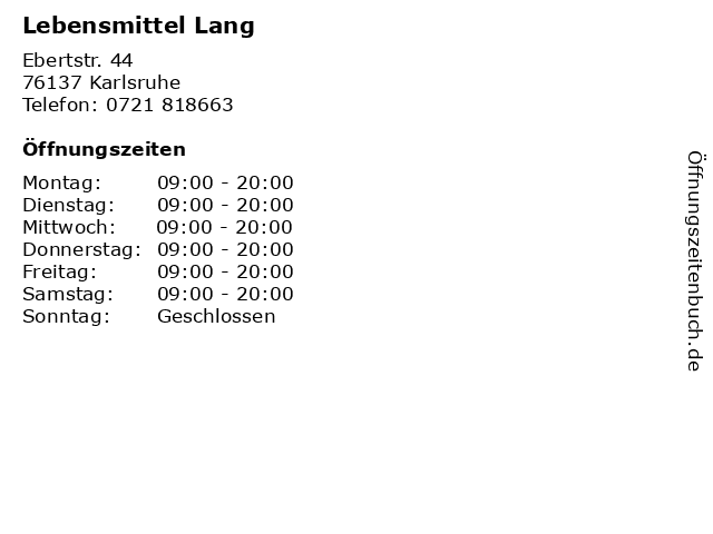 Lebensmittel Lang in Karlsruhe: Adresse und Öffnungszeiten