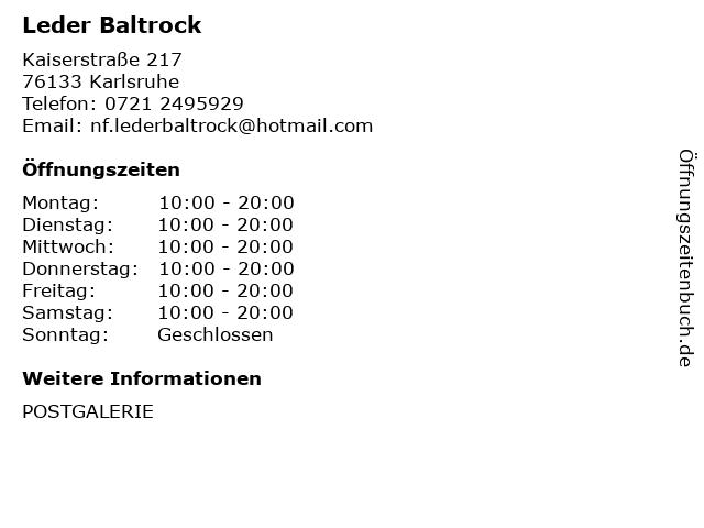 Leder Baltrock in Karlsruhe: Adresse und Öffnungszeiten