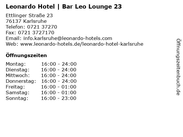 Leonardo Hotel | Bar Leo Lounge 23 in Karlsruhe: Adresse und Öffnungszeiten