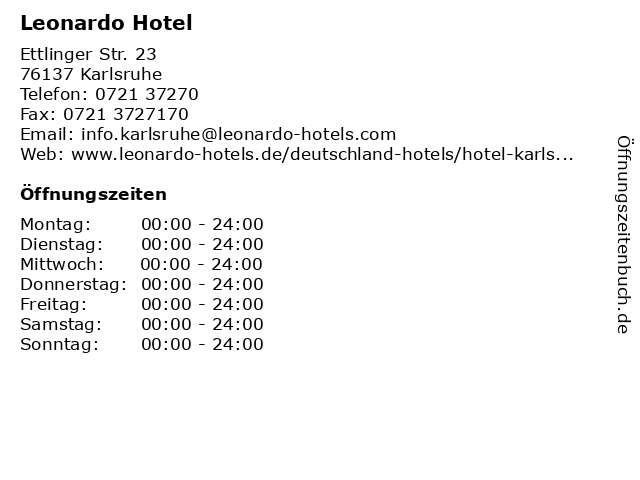 Leonardo Hotel in Karlsruhe: Adresse und Öffnungszeiten