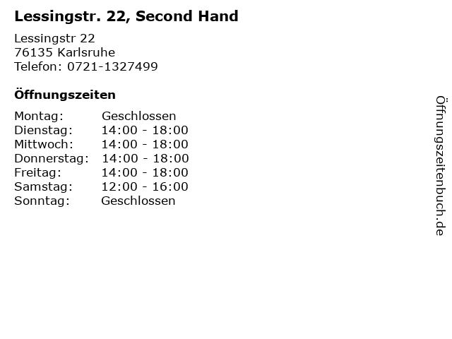 Lessingstr. 22, Second Hand in Karlsruhe: Adresse und Öffnungszeiten