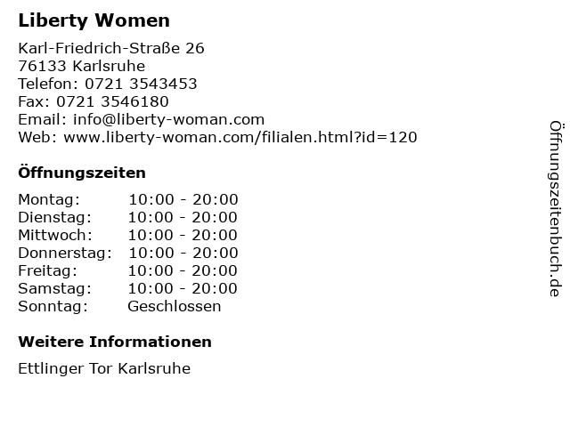 Liberty Damenmoden GmbH in Karlsruhe: Adresse und Öffnungszeiten
