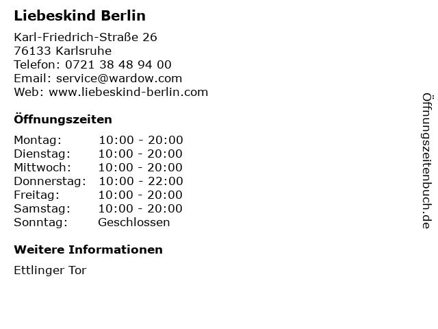 Liebeskind Berlin in Karlsruhe: Adresse und Öffnungszeiten