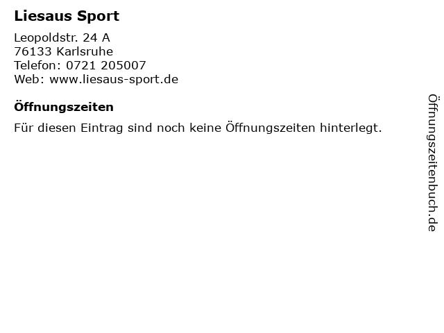 Liesaus Sport in Karlsruhe: Adresse und Öffnungszeiten