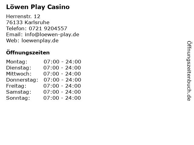 Löwen Play Casino in Karlsruhe: Adresse und Öffnungszeiten
