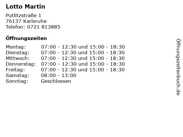 Lotto Martin in Karlsruhe: Adresse und Öffnungszeiten
