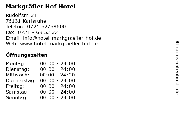Markgräfler Hof Hotel in Karlsruhe: Adresse und Öffnungszeiten
