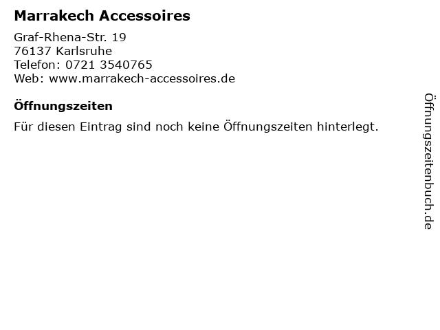 Marrakech Accessoires in Karlsruhe: Adresse und Öffnungszeiten