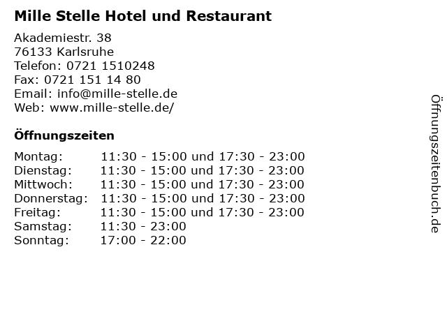 Mille Stelle Hotel und Restaurant in Karlsruhe: Adresse und Öffnungszeiten